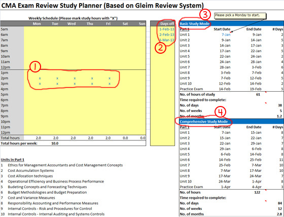 cia exam study planner