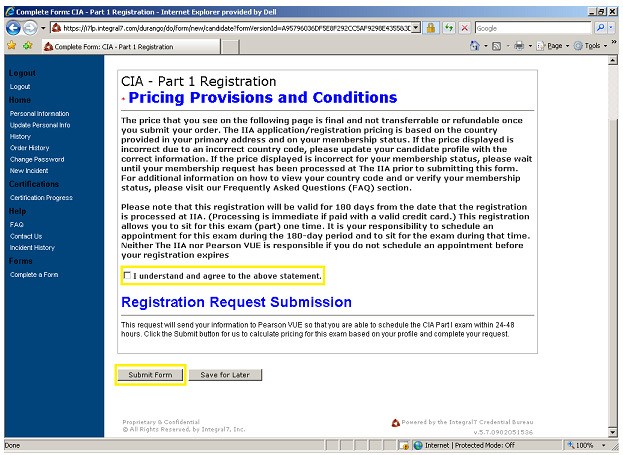 cia exam application step 2